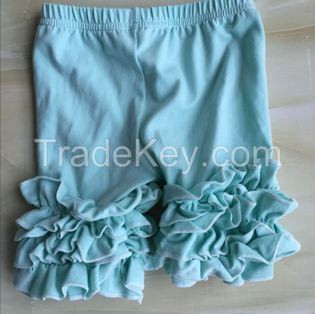 DYJ-084 Popular Wholesale Kids Icing Ruffle Long Pants Solid Color Girls Icing Cotton Pants