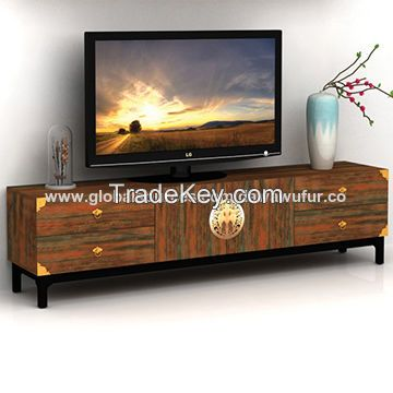 Home living room wood TV stand with 2 doors and 4 drawers