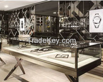 Elegant wood watch display cabinet stand for watch shop fitting