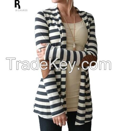 Black and White Striped Elbow Patching PU Leather Long Sleeve Knitted Cardigan Fall Slim 2016 Spring Autumn Women Sweater
