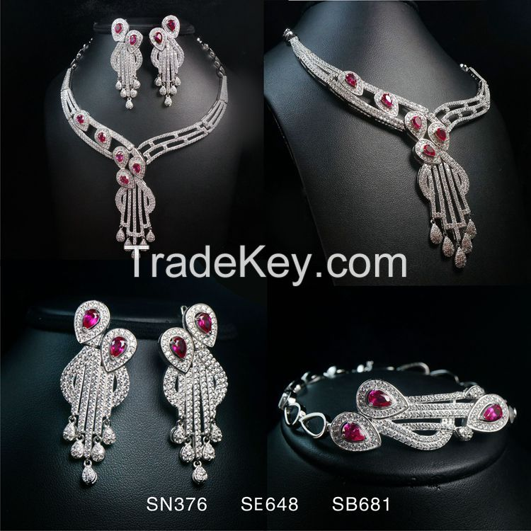 Necklace Earring Ring Bracelet Crystal Jewelry Sets