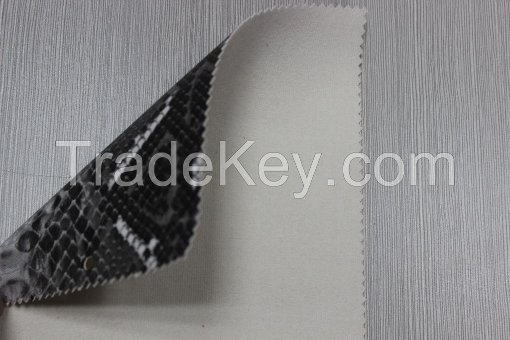 animal snake skin synthetic leather pvc printed leather for bags