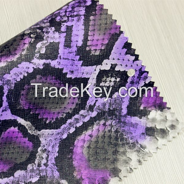 high quality snake skin leather pvc synthetic leather for bags