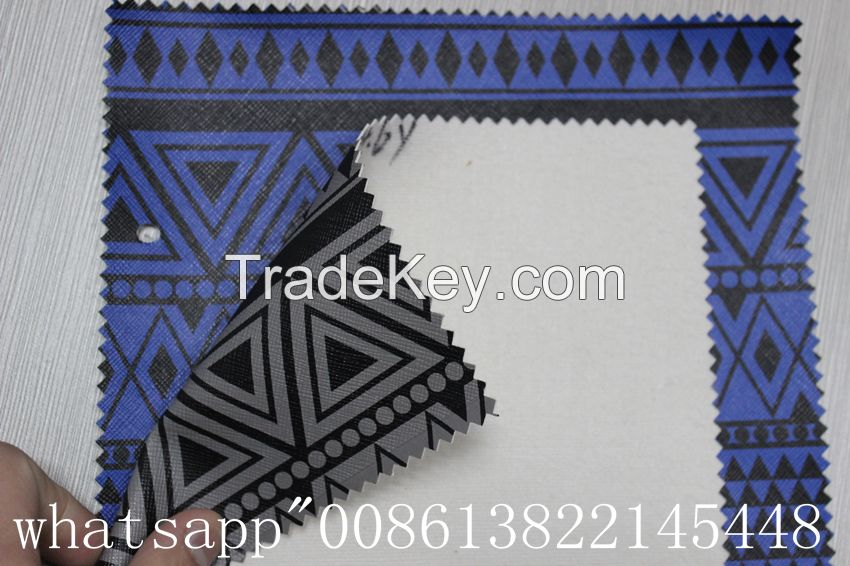 geometric printed leather fabric pvc synthetic leather for bags