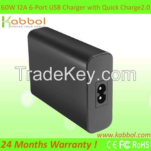 60W 6-Port USB Charger [Qualcomm Quick Charge 2.0] Desktop Charging Station (2 Ports QC 2.0 + 4 Ports Smart Charge) for Samsung Galaxy S6 S6 Edge Note 5 4 Google Nexus 6 HTC One M9 M8
