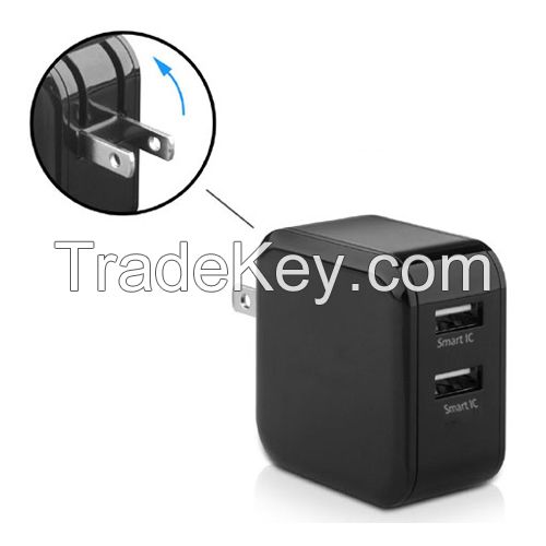 Dual USB Charger, 24W 4.8A 2 ports Wall/Travel Charger with Foldable US Plug and PowerIQ Technology for Apple iPhone 6s 6s plus Samsung Galaxy S6 Edge Plus LG G4