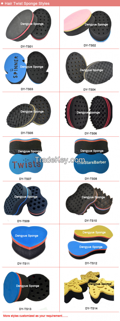 Double sides with big/small holes ellipse shaped hair twist sponge
