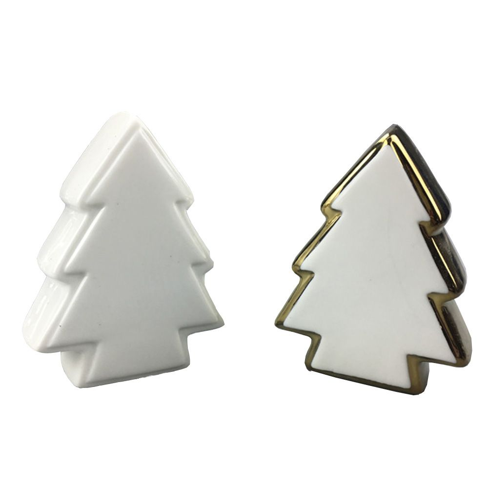 christmas decoration ceramic christmas tree shape decorative crafts with gold electroplated
