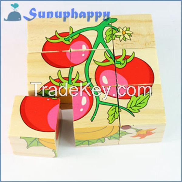 Factory new design custom 9pcs wooden snail shape colorful jigsaw puzz