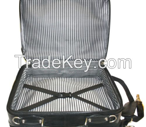 Laptop Trolley Overnight 2 Wheel Genuine Leather Travel Executive Briefcase bag