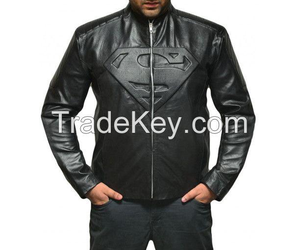 100% Genuine Leather Customizable Sleek Collarless Superman Biker Jacket for Men