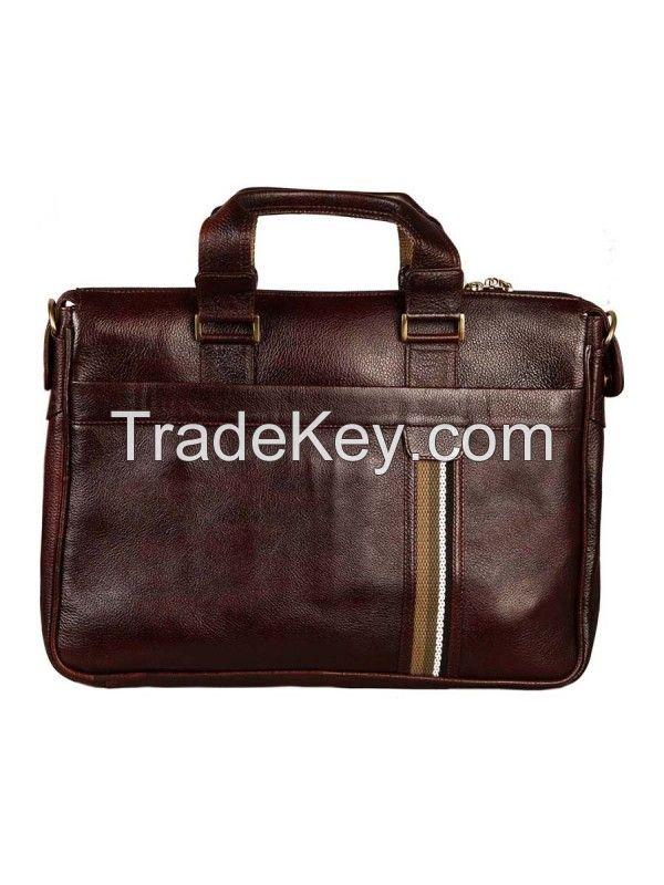 Genuine Leather Brown Messenger Shoulder File Laptop Office Executive Men Bag