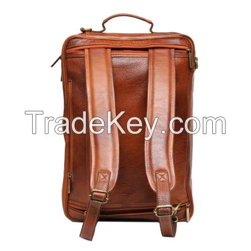 BBusiness Men Genuine Leather Brown Backpack cum Horizontal Laptop Office Bag