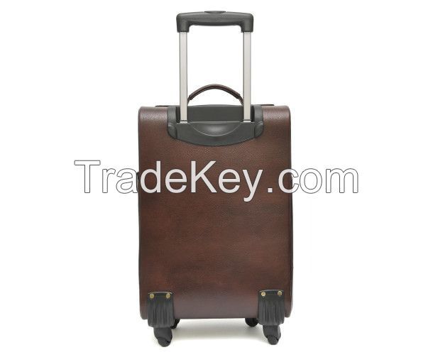 Genuine Leather Travel Duffle Outdoor Luggage Trolley Bag Black