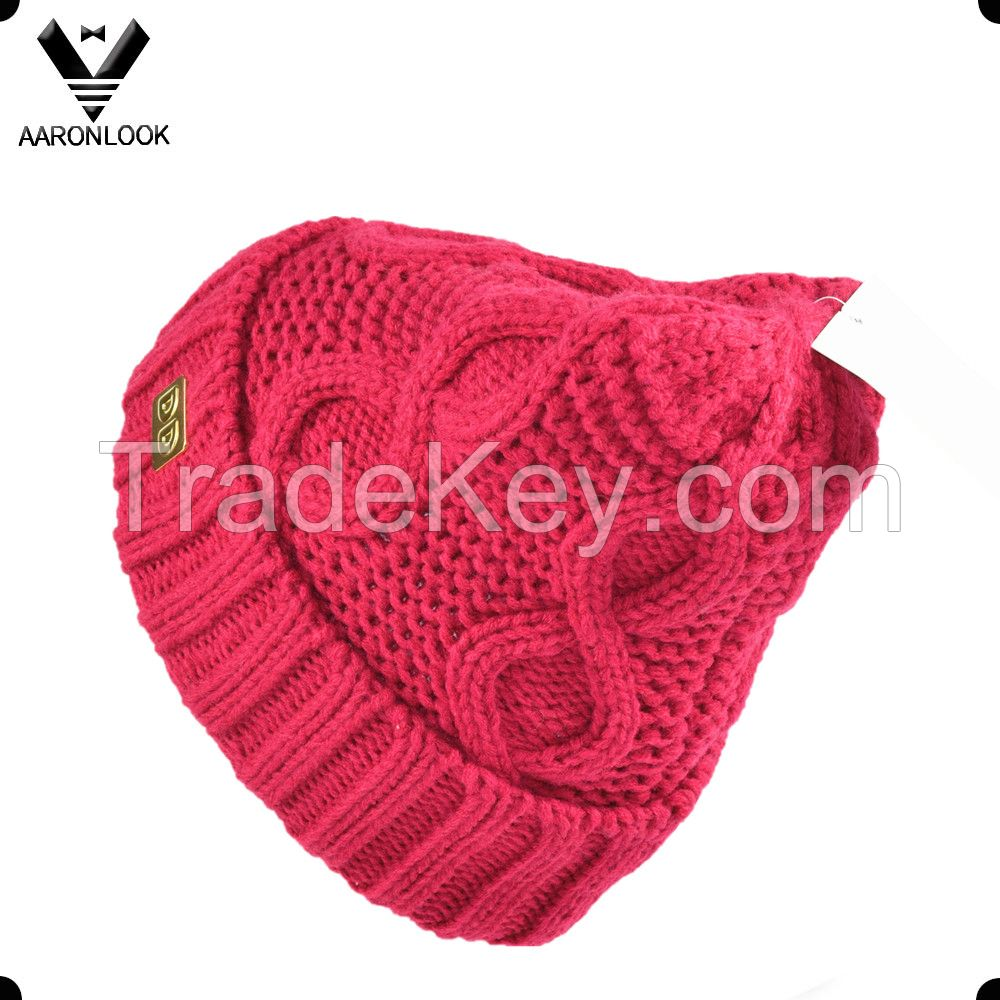 women's fashion winter cable knit beanie