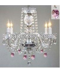 Chandelier Lighting W/ Crystal Pink Hearts! H 17 W17