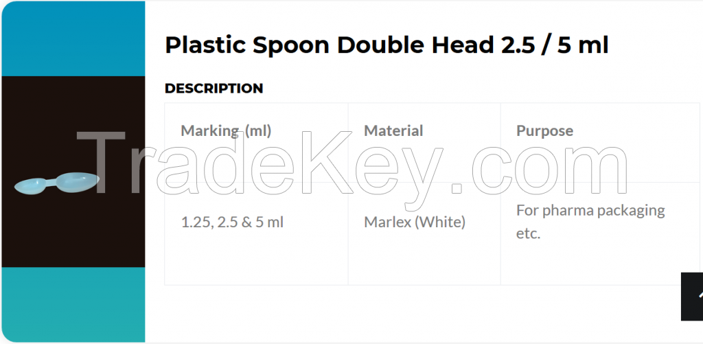 double head spoon 2.5 ml and 5 ml