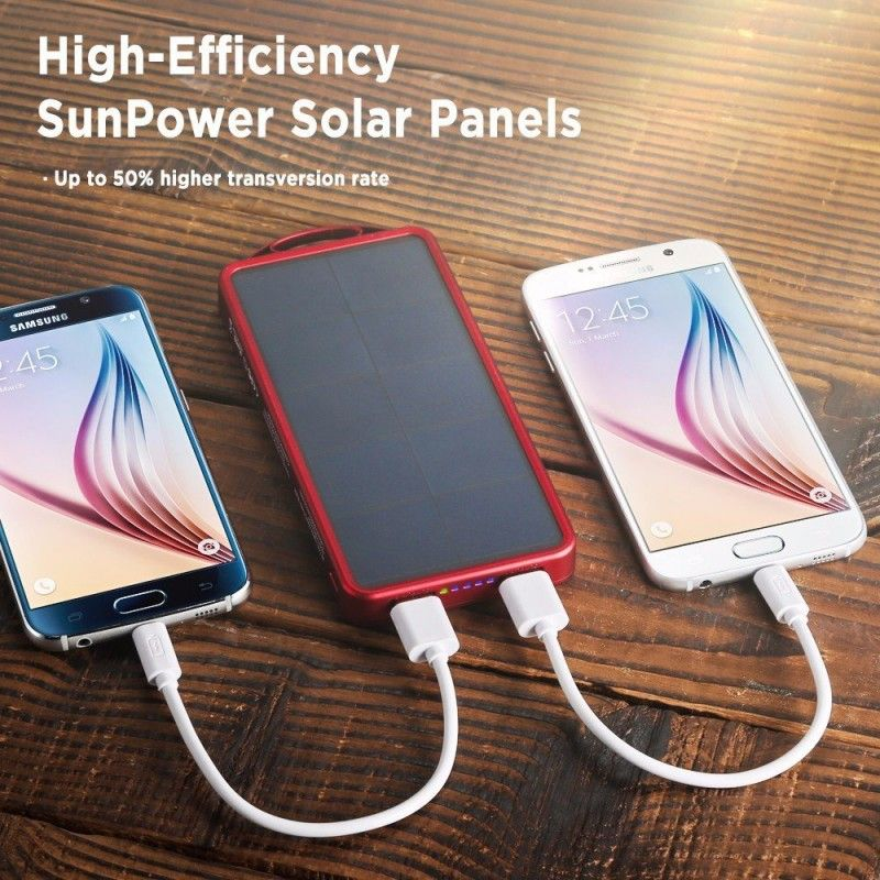 EasyAcc 8000mAn Solar Panel Power Bank