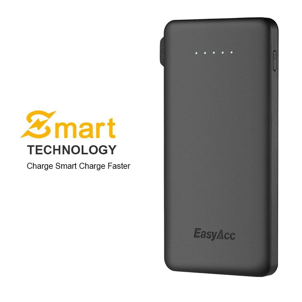 EasyAcc 6000mAh Ultra Slim Portable Battery  with Built-in Cable