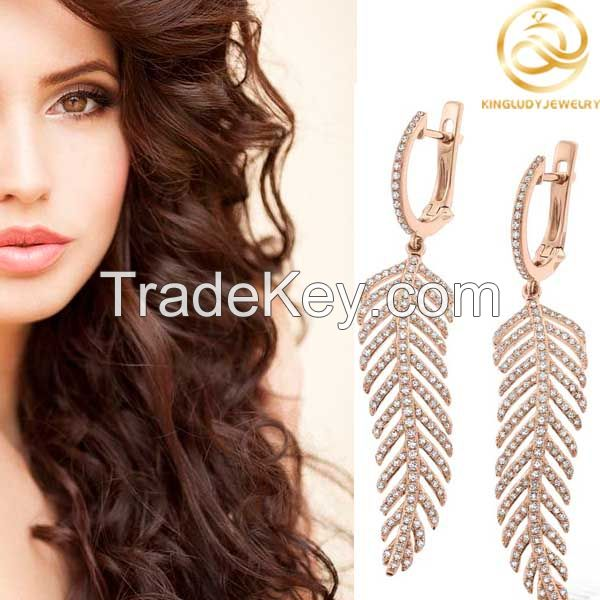 Rose Gold Plated Leaf Shape Fashion Clip Earrings Jewelry