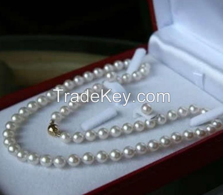 natural 7-8MM White south sea Pearl Necklace 18inch+Earring Set