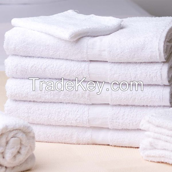 100% cotton white color terry hand towel