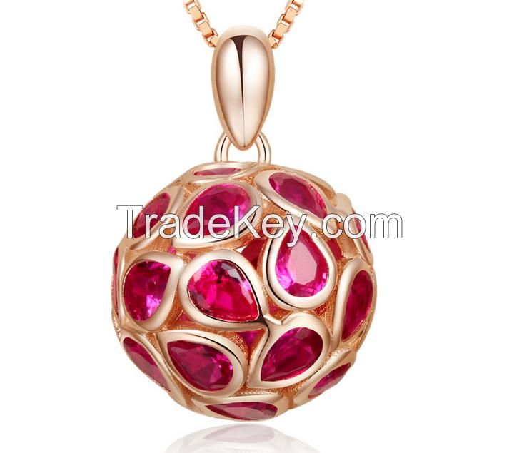 Beads pendant 925 sterling silver micropaving necklace