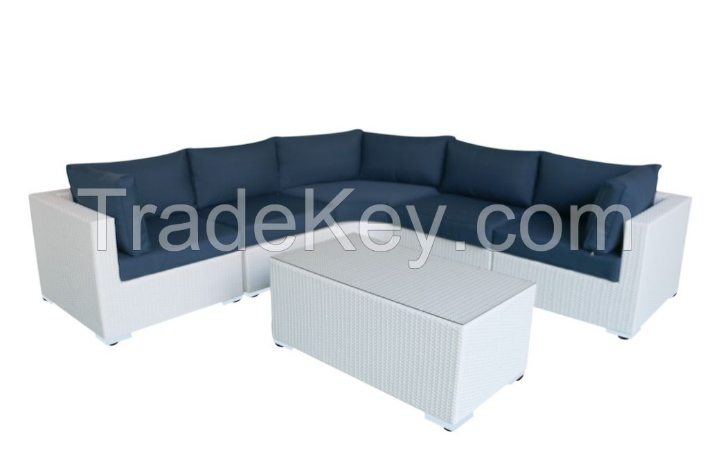 Rattan Corner Sofa, Wicker Corner Sofa with glass table