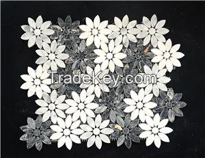 White Carrara Flower Shape Mosaic for Interior Decoration
