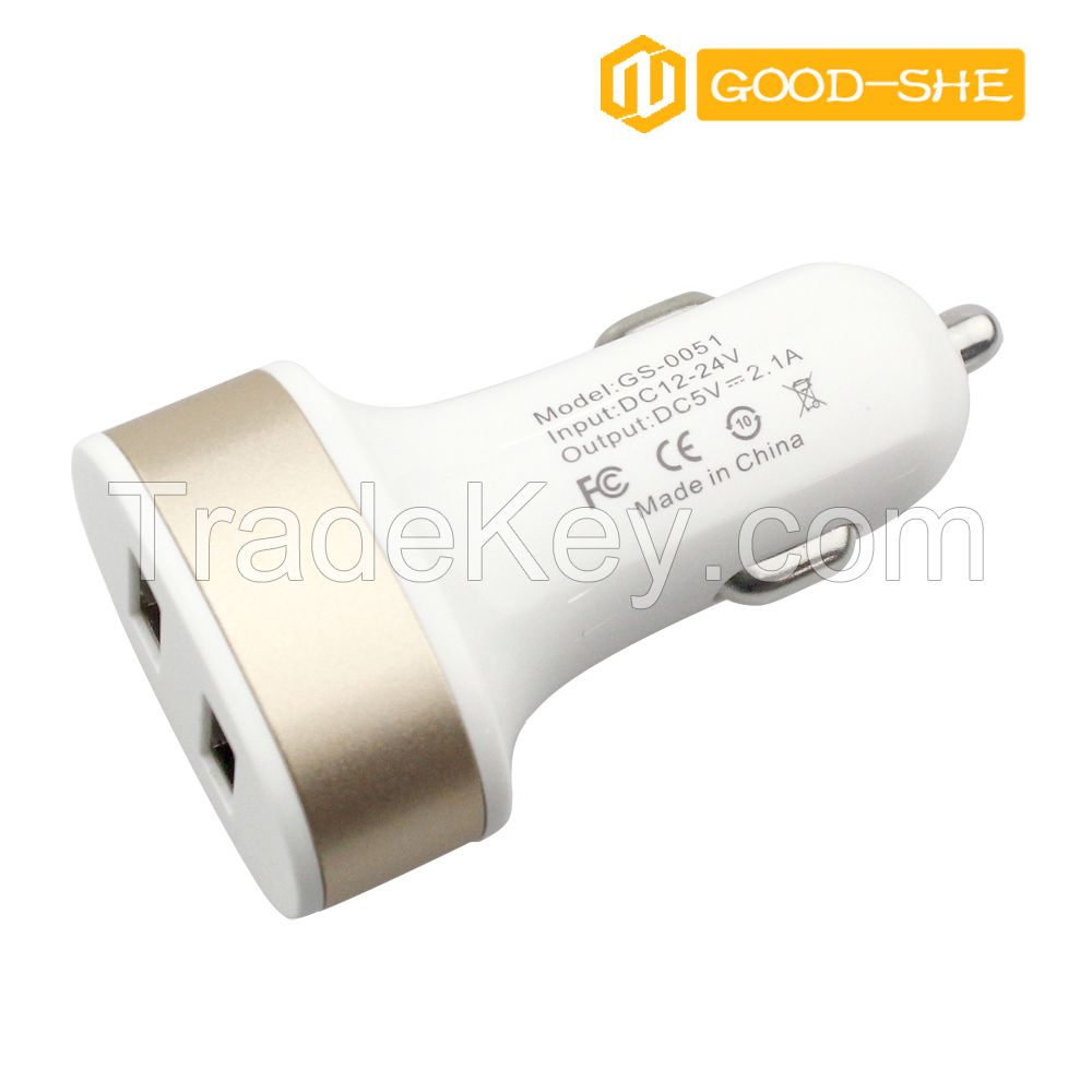 Hot sale Newest Design High speed cell USB phone car charger 5V 2.4A,