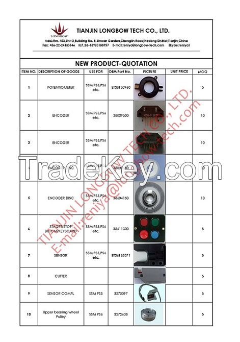 Textile spare parts use for SSM