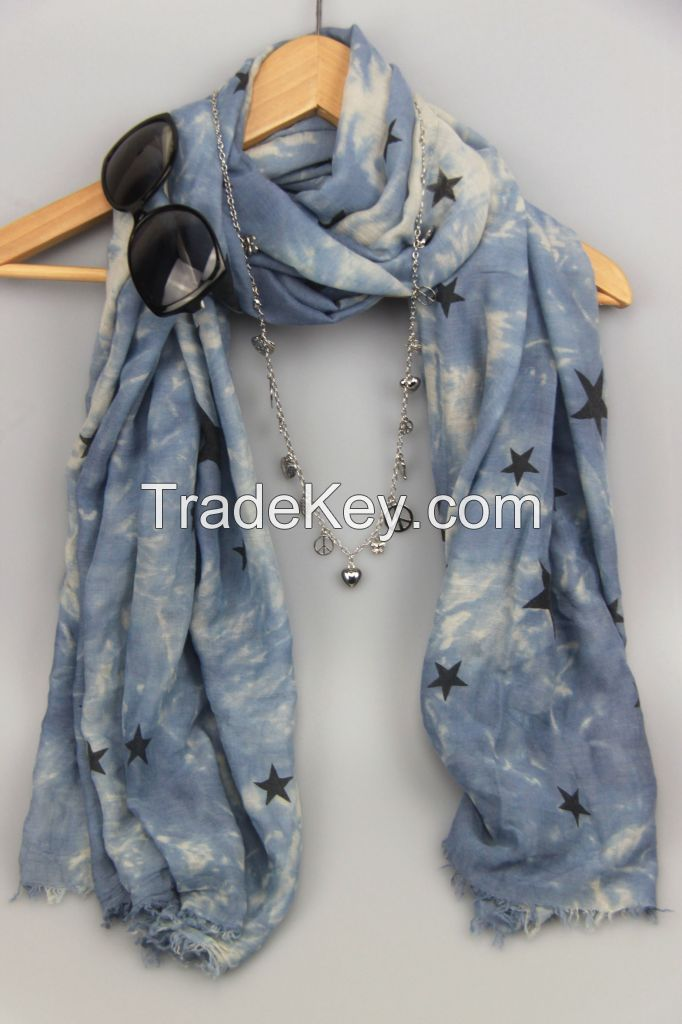 Lady fashion woven voile printed scarf
