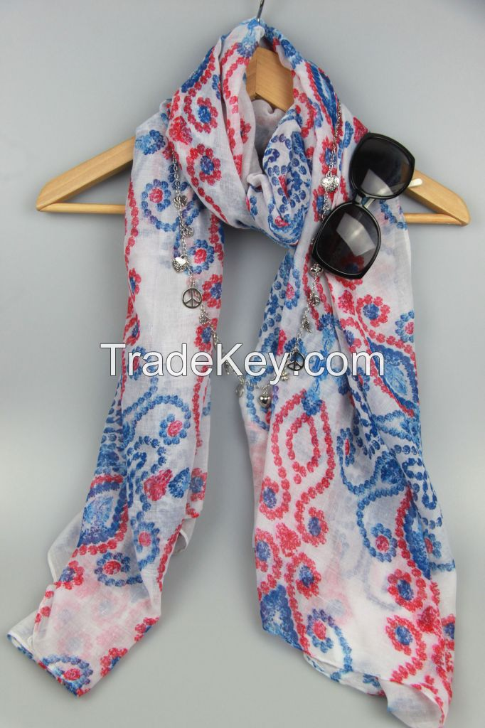 Newest Fashion Pattern Printing Voile Lady Scarf 2101/2302/2303