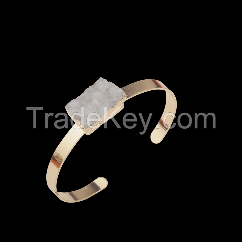 Wholesale Gold Jewelry For Druzy Cuboid Clear Crystal Cluster Gold Copper Bangles