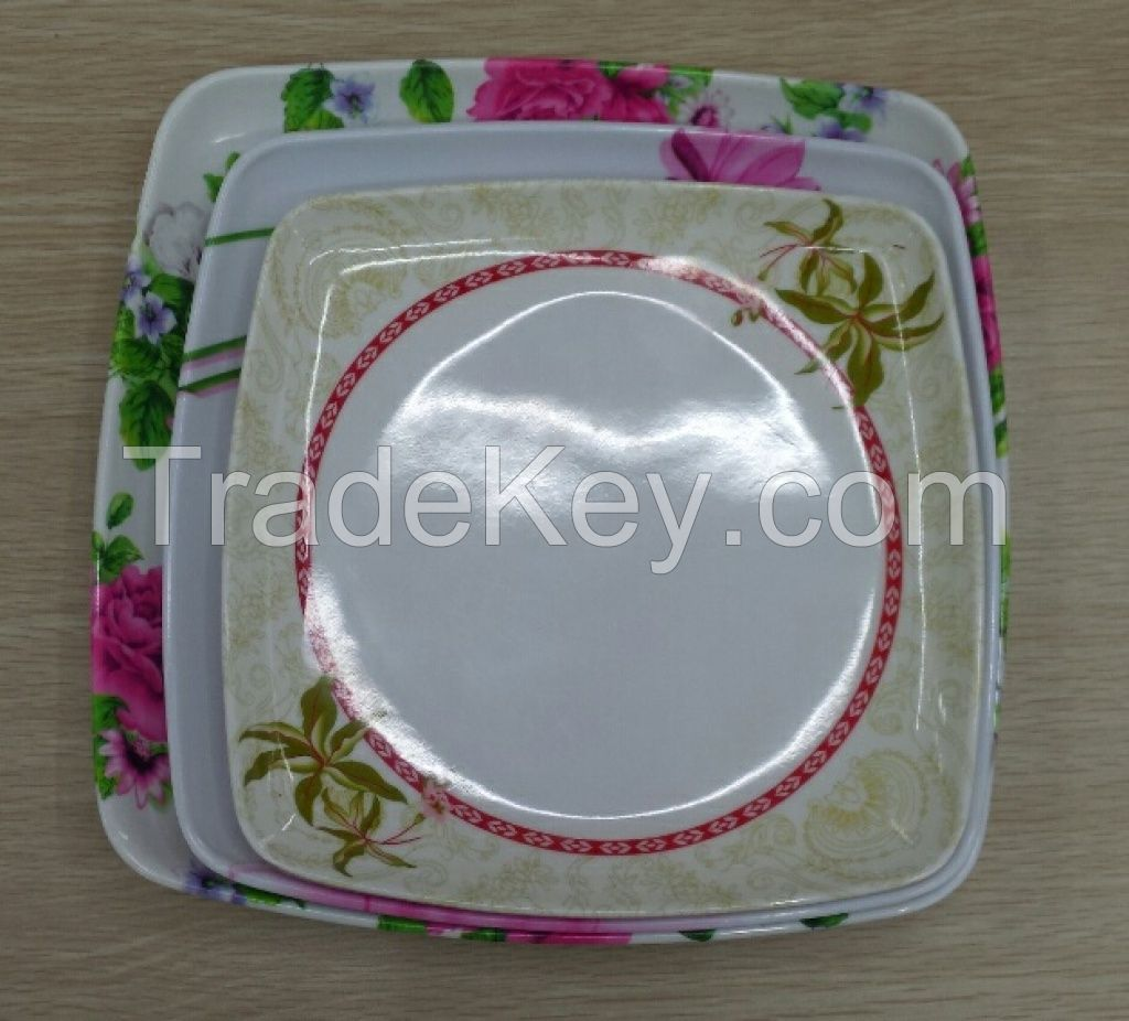 SQUARE PLASTIC MELAMINE PLATE WITH DECAL PRINTING 11INCHES