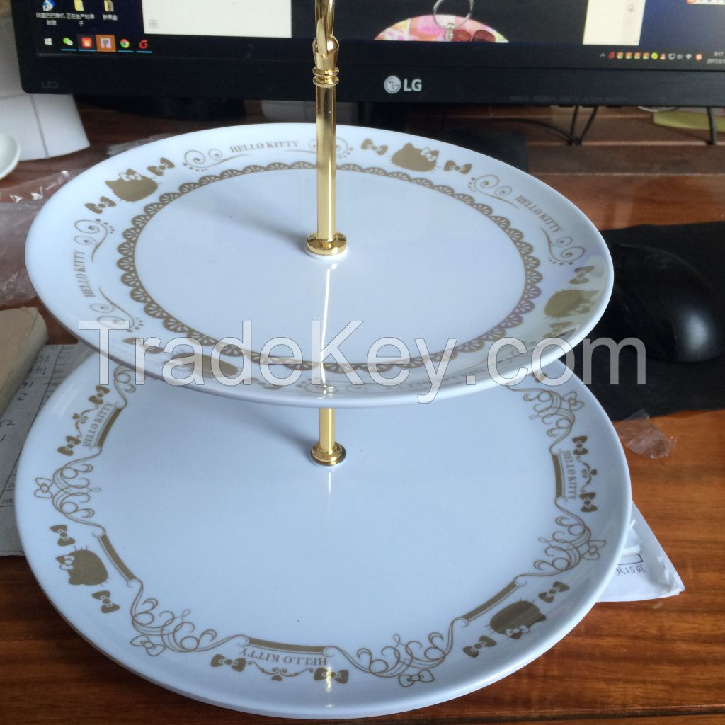 DOUBLE-DECK FRUIT PLATE MELAMINE TABLEWARE CUSTOMIZATION