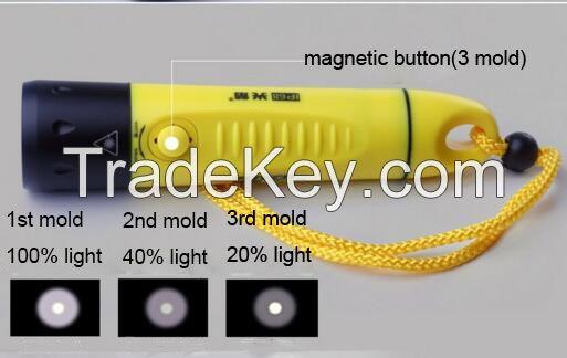 Ourdoor diving waterproof rechargeable aluminium  Cree led flashlight