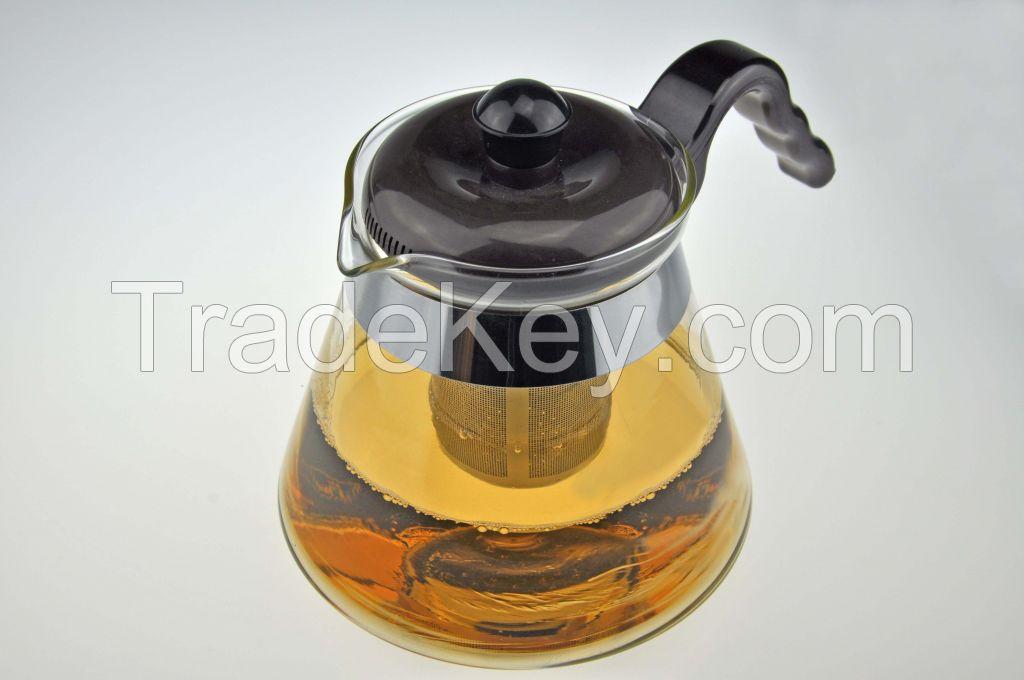 Elegent transparent heat-resistant glass tea pot