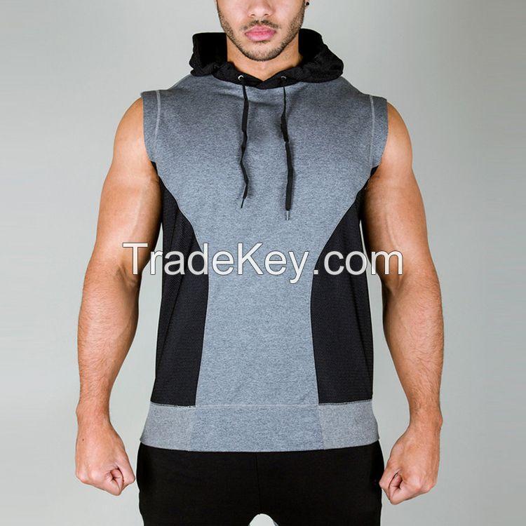 custom men's fashion sleeveless hoodies design