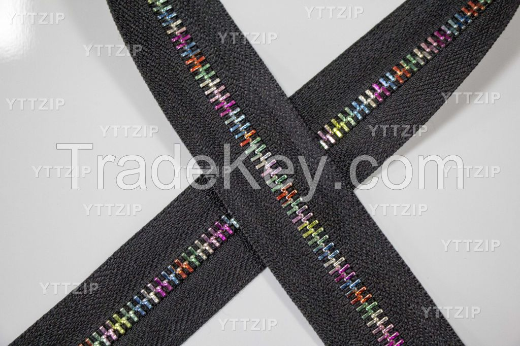 5# metal zipper with plated candy color teeth