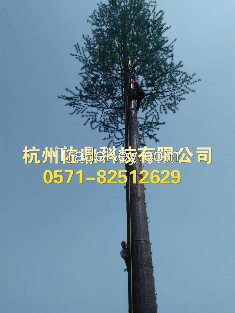 Communication tower fire retardant simulation bark material