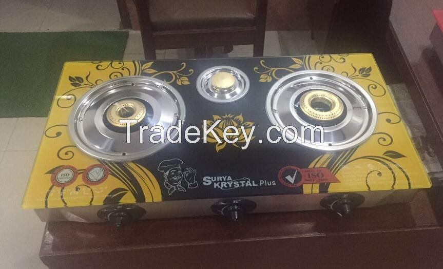 3 cap india gas stove with copper burner glass top