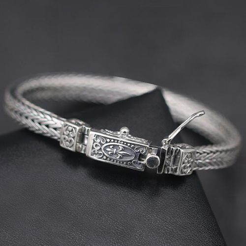 Men's Sterling Silver Fleur Wheat Chain Bracelet