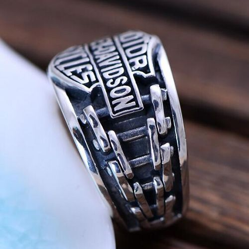 Men's Sterling Silver Biker Ring
