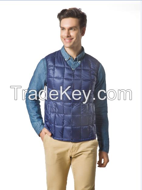 Men's packable Down No Collar Vest