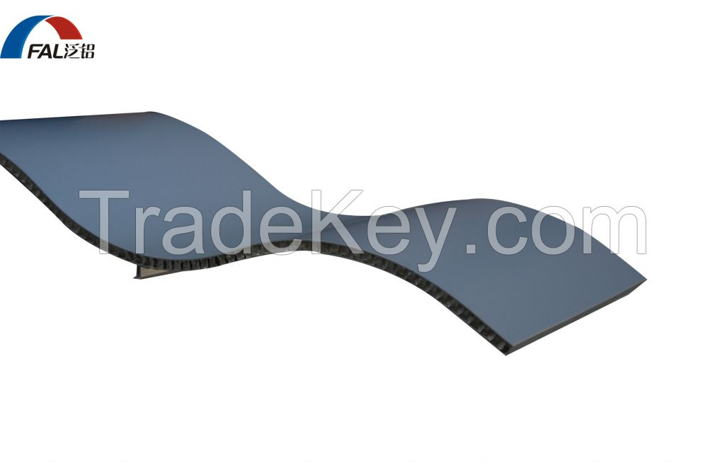 Arcuate Shape Aluminum Honeycomb Composite Panel For Roofing System
