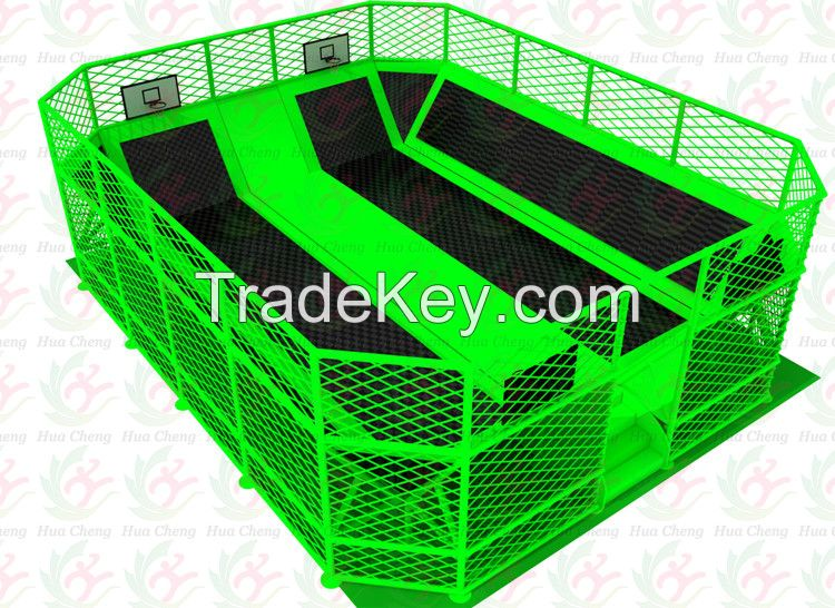 2016 newest design mini rectangle trampoline park with trampoline assembly instructions