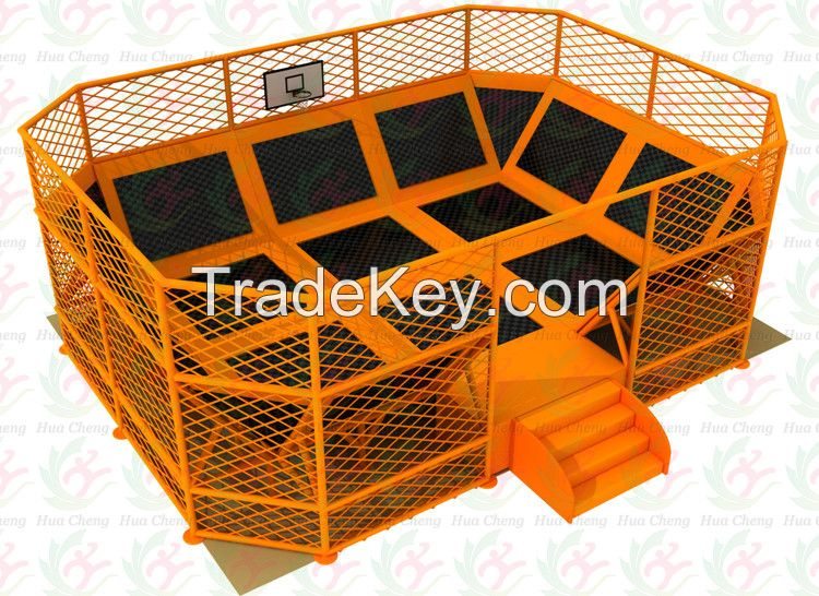 mini rectangle trampoline park with trampoline assembly instructions in orange color