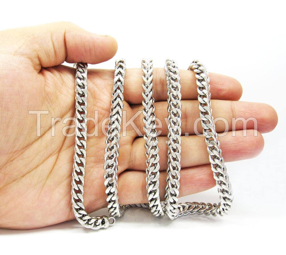 10K White Gold Solid Franco Link Chain 30-40 Inch 6mm
