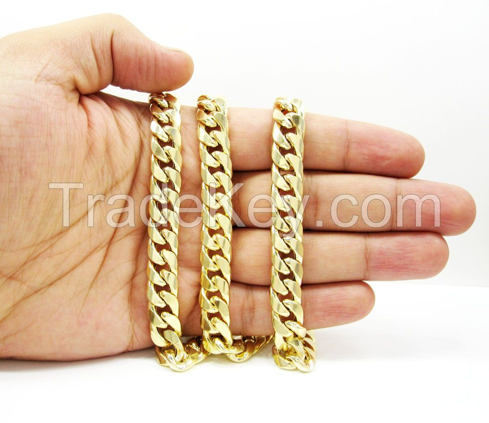 9.5mm 14K Yellow Gold Men's Miami Cuban Link Chain Necklace